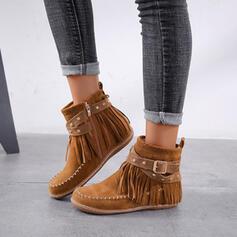 Kvinner Semsket Flat Hæl Ankelstøvler Round Toe med Glidelås Tassel sko