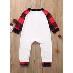 Color-block Plaid Letter Family Matching Christmas Pajamas