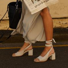 Dla kobiet Zamsz Obcas Slupek Sandały Czólenka Otwarty Nosek Buta Obcasy Z Sznurowanie obuwie