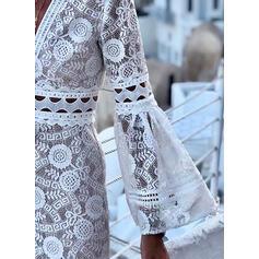Koronka/Jednolita Długie rękawy/Rozkloszowane rękawy Pokrowiec Nad kolana Casual/Wakacyjna Sukienki
