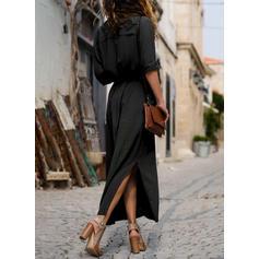 Sólido Manga Larga Acampanado Camisa Pequeños Negros Maxi Vestidos