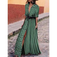 Print/PolkaDot/Striped 1/2 Sleeves A-line Casual/Vacation Maxi Dresses