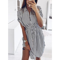 Striped Short Sleeves Sheath Knee Length Casual/Elegant Dresses