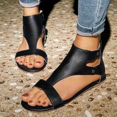 Kvinner PU Flat Hæl Sandaler Flate sko Titte Tå med Rivet Glidelås sko
