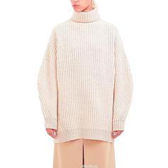 Sólido Punto Grueso Cuello De Tortuga Vestido de Suéter