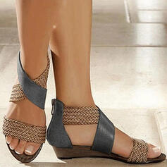 Women's Leatherette Flat Heel Sandals Peep Toe With Split Joint shoes