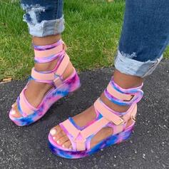 Donna PU Senza tacco Sandalo Piattaforma Punta aperta con Cava-out Velcro scarpe