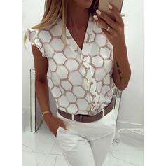Geometric Print V-Neck Cap Sleeve Button Up Casual Shirt Blouses