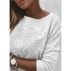 Print Lace Heart Round Neck Long Sleeves Casual T-shirts