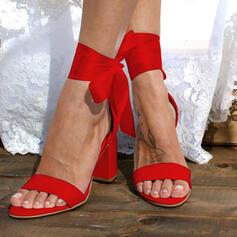 Női PU Chunky sarok Szandál Magassarkú -Val Csokornyakkendő Lace-up Szolid szín cipő