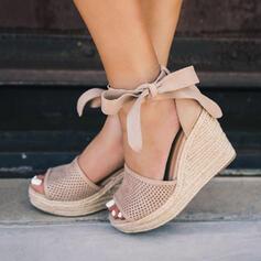 Kvinner Lær Kile Hæl Sandaler Platform Kiler Titte Tå Hæle med Blondér Hul ut sko