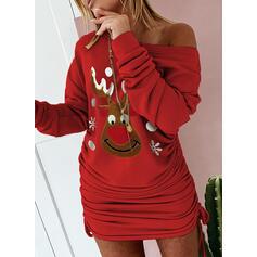 Animal Print Long Sleeves Bodycon Above Knee Christmas/Casual Sweatshirt Dresses