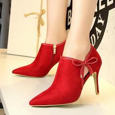 Mulheres Camurça Salto agulha Bombas Fechados Bota no tornozelo com Aplicação sapatos