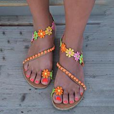 Kvinner PU Flat Hæl Sandaler med Sateng Sløyfe sko