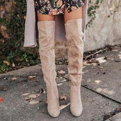 Pentru Femei Piele de Căprioară Toc gros Gizme Peste Genunchi Deget rotund cu Drapată Culoare solida pantofi