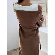 Fargeblokk Lange ermer Kvinnedrakt Asymmetrisk Casual Kjoler