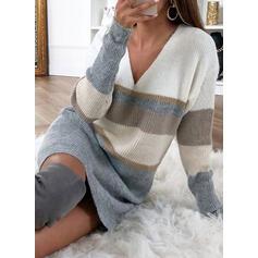 Färg block Rand V-ringning Casual Lång Tröja klänning