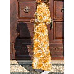 Nadrukowana Długie rękawy W kształcie litery A Koszula Casual/Wakacyjna Maxi Sukienki