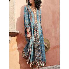 Print Long Sleeves A-line Casual/Elegant Maxi Dresses