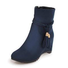 Kvinnor Mocka Kilklack Stövlar med Tofs Solid färg skor