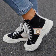 Bayanlar Tuval Tıknaz Topuk Martin Çizmeleri Yuvarlak ayak Ile Bağcıklı ayakkabı ayakkabı