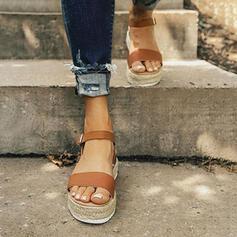 Women's PU Flat Heel Sandals Peep Toe With Buckle Animal Print shoes