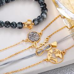 Elegante Liga Corda trançada Perline Mulheres Pulseiras Moda (Conjunto de 5)