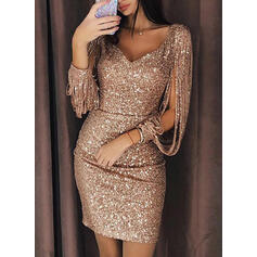 Sequins/Solid Long Sleeves Bodycon Above Knee Sexy/Party Dresses