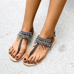 Mulheres PU Sem salto Sandálias Peep toe com Strass Fivela sapatos