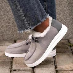 Mulheres Pano Sem salto Sem salto Botas Toe rodada com Fivela Cor sólida sapatos