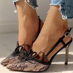 Женский ткань меш Стилет каблук Насосы с пряжка Шить кружево обувь