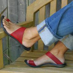 Női PU Lapos sarok Szandál Peep Toe Papucs cipő