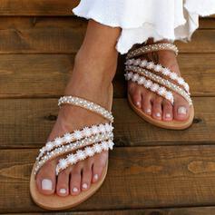 Женский PU Плоский каблук Сандалии Шлепки с развальцовка обувь