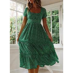 PolkaDot Short Sleeves A-line Casual/Vacation Midi Dresses