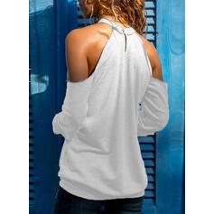 Jednobarevný Odhalená Ramena Dlouhé rukávy Neformální Bluze