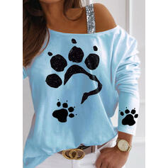 Animal Print Sequins One-Shoulder Long Sleeves Casual Blouses