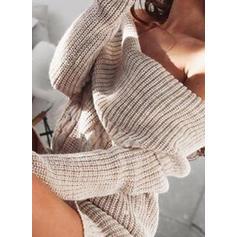 Jednolity Masywna dzianina Na jedno ramię Casual Długie Sukienka sweterkowa