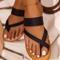Kvinner PU Flat Hæl Sandaler Flate sko Tøfler Tåring med Sikk sakk sko