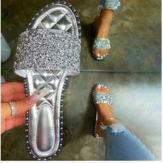 Kvinner Glitrende Glitter Flat Hæl Sandaler Tøfler Round Toe med Glitrende Glitter sko
