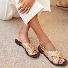 Mulheres Couro Sem salto Sandálias Sem salto Peep toe com Faixa Elástica sapatos