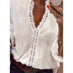 твердый кружевной V шеи Рукава 3/4 элегантный Блузы