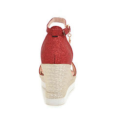 Mulheres Espumante Glitter Plataforma Bombas Plataforma Calços Peep toe com Fivela sapatos
