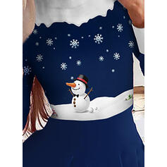 Print/Striped Long Sleeves A-line Above Knee Christmas/Elegant Skater Dresses