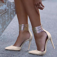 Kvinnor Mocka Stilettklack Pumps med Zipper skor