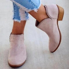 Női PU Alacsony sarok Csizma Bokacsizma -Val Szolid szín cipő