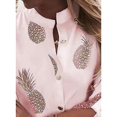 Nadruk Dekolt w kształcie litery V Długie rękawy Zapięcie na guzik Bluski koszulowe