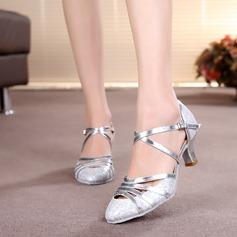 De mujer Sala de Baile Tacones Salón Brillo Chispeante con Tira de tobillo Estilo Moderno