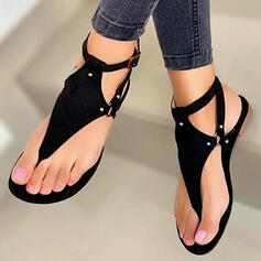 Kvinner PU Flat Hæl Sandaler Flate sko Titte Tå Flip-Flopper med Rivet Hul ut sko