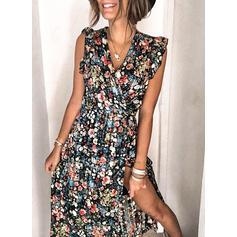 Nadrukowana/Kwiatowy Bez rękawów W kształcie litery A Łyżwiaż Casual Midi Sukienki