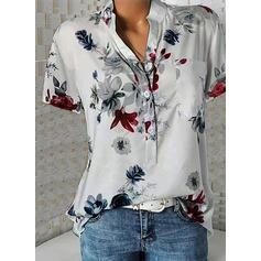 Nadruk Dekolt w kształcie litery V Krótkie rękawy Zapięcie na guzik Casual Bluski koszulowe